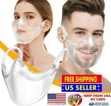 Clear Face Mask Shield Safety Protector Reusable Plastic Transparent Cover USA#