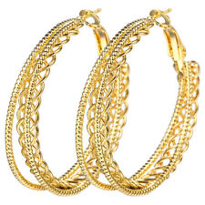 Women Chic 18K Yellow Gold Filled Stud Hoop Dangle Earring Wedding Jewelry Gifts