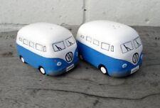 Camper Van Hippy Bus Salt and Pepper Pots Cruet Set Dark Blue