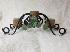 Vintage Triple Metal Candle Holder with leaves and floral design