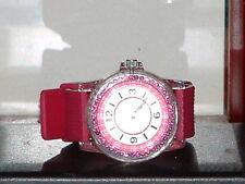 Pre-Owned Teen's Dark Pink Crystal Analog Quartz Watch