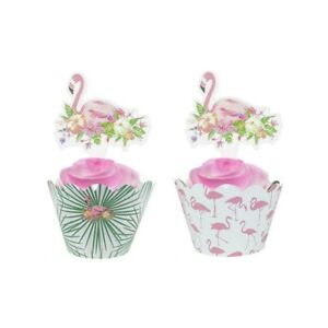 24 Pcs Flamingo Tropical Cupcake Wrappers and Toppers Birthday Party
