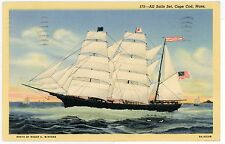 """All Sails Set"" RARE Cape Cod Clipper Ship BARK CONFIDENCE Sail Boat ca. 1941"