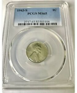 1943 S 1 Cent Penny PCGS MS65