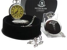 CADUCEUS POCKET WATCH  Cufflink Luxury Gift Set in Case Medical Symbol Doctor