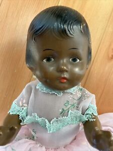 "Adorable Antique Vintage 12"" African American Black Composition Doll"