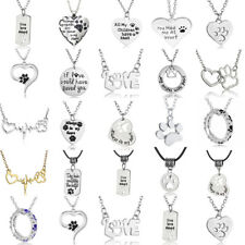 Paw Print Cat Dog Pet Love Heart Pendant Silver Chain Necklace Gift Charm Women