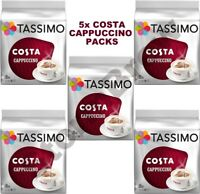5x TASSIMO COSTA CAPPUCCINO COFFEE PACKS (TOTAL 80 T-DISCS/PODS, 40 SERVINGS)