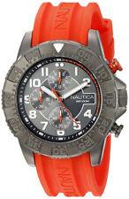Nautica Men's NSR 104 Chrono S. Steel Orange Silicone 100m Watch NAD17514G