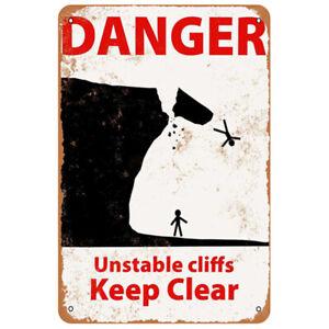 Metal Tin Sign danger unstable cliffs keep clear  Decor Home Vintage