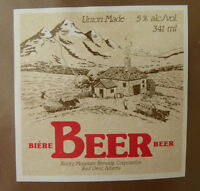 VINTAGE CANADIAN BEER LABEL - ROCKY MOUNTAIN BREWERY, BEER 341 ML - COTTAGE