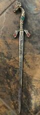 Vintage Brass Dragon Dagger Decorative with Ruby and Emerald Like Stones Handpai