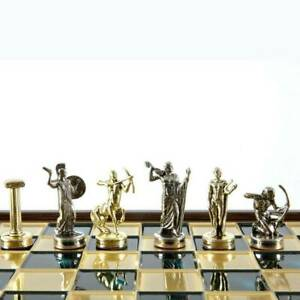 Manopoulos Hercules Chess Set - Brass Nickel Pawns - Green Wooden case Board