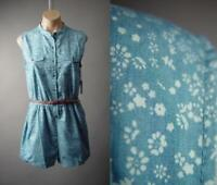 Chambray Ditsy Floral Print Country Boho Short Belted Playsuit 237 mv Romper M L