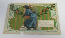 Blue Robe SANTA CLAUS Christmas Postcard circa 1907-1915