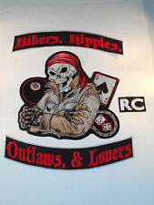 Bikers, Hippies, Outlaws, & Lovers RC Back Patches, Biker Motorcycle Colors