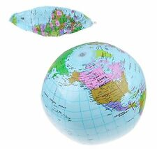 INFLATABLE GLOBE 40CM  ATLAS WORLD MAP EARTH BEACH BALL GEOGRAPHY BLOW UP TOY