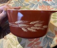 Vintage PYREX 473-B Casserole Dish Autumn Harvest Wheat 1 Quart