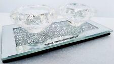 2 Tea Light Holder Crystal Sparkling Diamond Crush Silver mirrored Glass