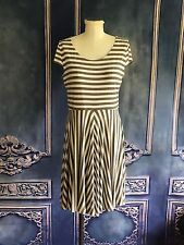 Ann Taylor LOFT Striped Fit & Flare Twirl Dress SMALL Cap Sleeves Taupe & White