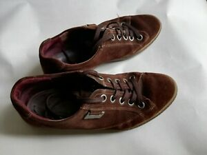 Women's Ecco Shoes Brown Suede Flats Size  UK 6/ EUR 39 Good Condition. See info