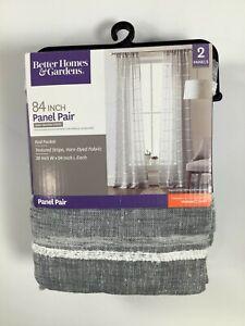 Better Homes & Gardens Gray Woven Stripe Window Panels 2 pk NEW!