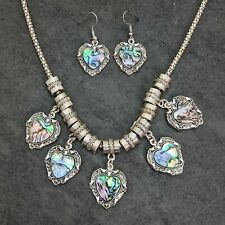 Silver Tone Abalone Heart Green And Blue Shades Necklace And Earrings Set