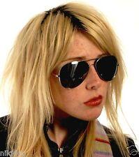 Oversized Designer Aviator Smoked Sunglasses Silver Frame Dark Black Lenses