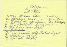 JOHNNY CASH original handwritten live concert set list