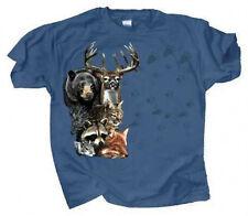 T Shirt Adult Small Forest Trax Deer Bear Bobcat Fox Raccoon Squirrel
