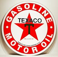 Texaco Motor Oil Sign Large Round Metal 30""