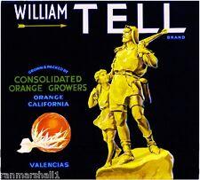 Orange County William Tell Orange Citrus Fruit Crate Box Label Art Print
