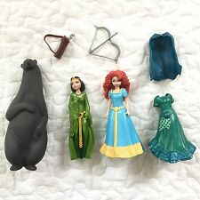 Disney Princess MagiClip Merida Brave Doll Queen Mother Bear Lot Polly Pocket