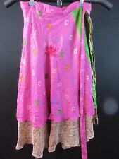 Vintage Silk Reversible Wrap Skirt Sarong L Mid-length Multi-Color Tie Waist