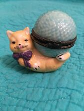 Vintage 1997 Porcelain Cat W/Ball Of Yarn Hinged Box By Seymour Mann