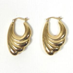 """Pair of Vintage Marked 585 14k Gold Lovely Design Pierced Earrings 1.25"""" (2g)"""
