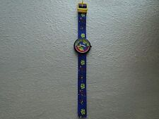 Flik Flak Child's watch, Blue Astronaut, Space Ship, Planet, made in Switzerland