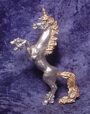 Tall Pewter UNICORN Rearing with Golden Highlights & Crystal Eyes