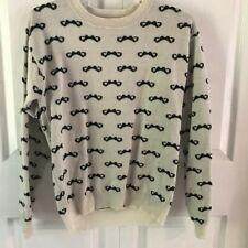 Rebellious One Ladies Mustache Sweater, Size L, super cute!