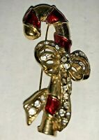 Vintage Gold Candy Cane Bow Red Enamel & Clear Rhinestone Brooch Pin Christmas