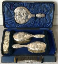 ANTIQUE STERLING SILVER CHERUB MIRROR HAIRBRUSH CLOTHES BRUSH COMB - VANITY SET