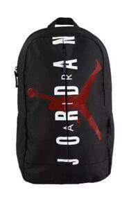 "New NIKE AIR JORDAN Jumpman Logo SPLIT BLACK RED 18"" BACKPACK / Laptop"