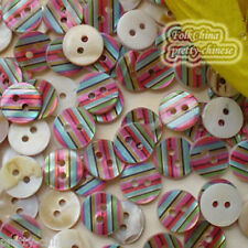 20 x Colourful Stripe 11mm Mother Of Shell Buttons Sewing Scrapbooking Beads
