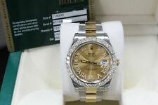 Rolex Datejust II 116333 Diamond Dial Diamond Bezel 18K Gold & Steel Box Papers