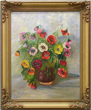 INGEBORG DUBOIS *1897-1970 / FLOWERS - Original Scandinavian Oil Painting