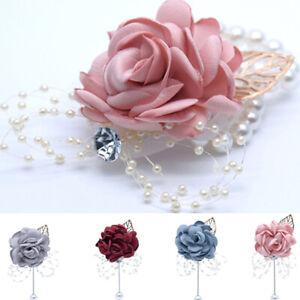 Wedding Bride Bridesmaid Corsage Flower Lapel pin Prom dance Charm Wrist Flowers