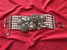 Betsey Johnson HUGE Pearl Pretty Punk Antique Engagement Ring Floral Bracelet