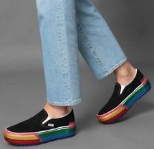 Vans Classic Slip-on Stacked Platform Glitter Skate Shoes Women's Size 6.5 Black