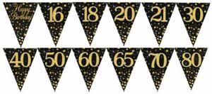 BUNTING FLAGS BIRTHDAY BLACKGOLD SPARKLING FIZZ 16 18 20 21 30 40 50 60 65 70 80