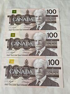 Canada 100 Dollars Banknote 1988 Lot Of 3 Gem UNC consecutive Notes